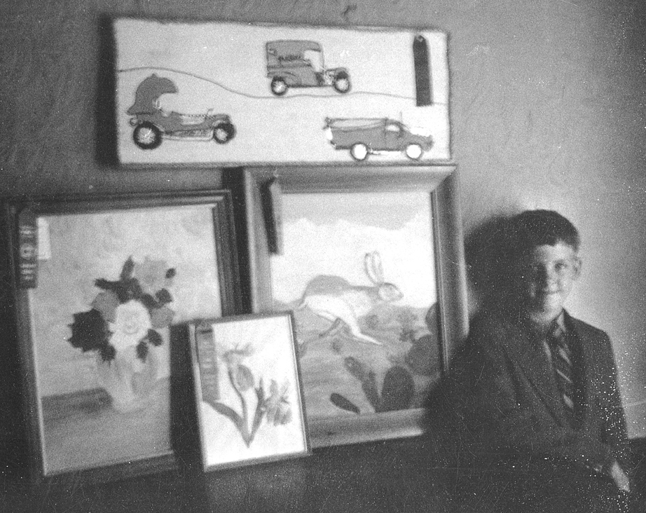 Self with paintings