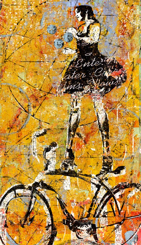 <i>Woman on a Bike-Gold</i>, inkjet on aluminum, limited edition (Click to view series)