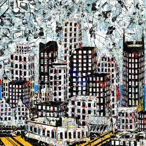 TAC Contemporary Nashville Mixed Media Cityscape with Plexi